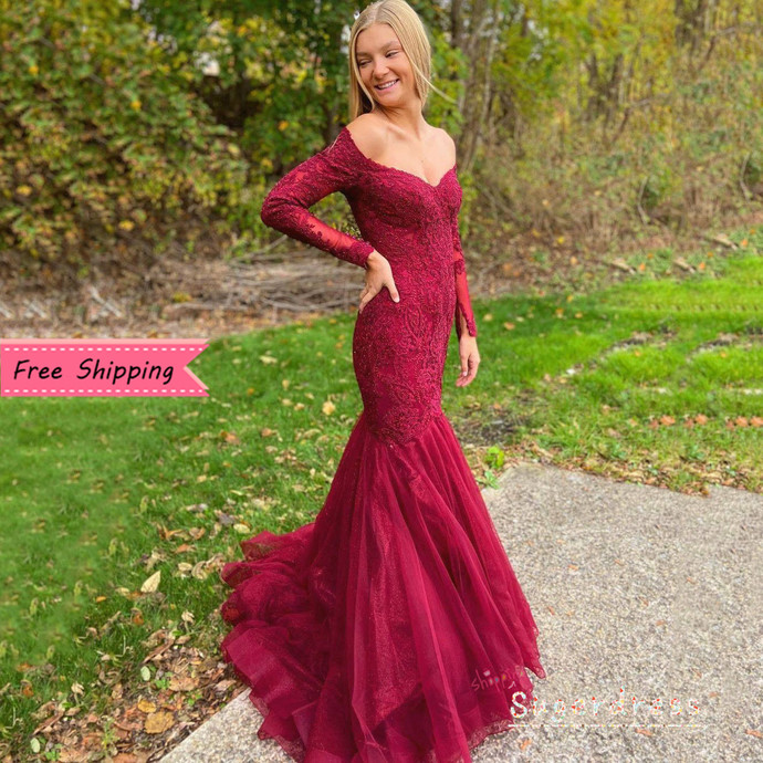 Free Shipping Off the Shoulder Burgundy Long Sleeves Mermaid Prom Dress 8002037