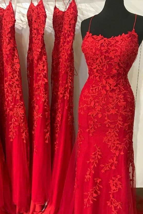 red lace prom dresses, mermaid long prom dresses, cheap evening party dresses