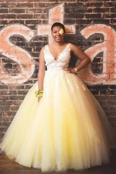 Princess V Neck Yellow Long Prom Dress
