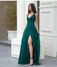 Prom Dress Ball Gown, A line green prom dress with side slit