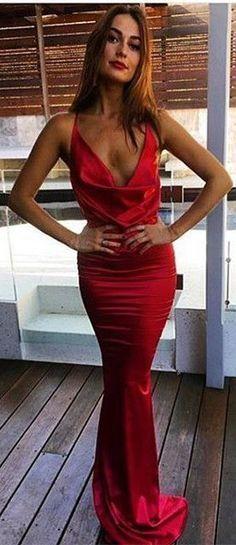 Red Mermaid Long Evening Dress