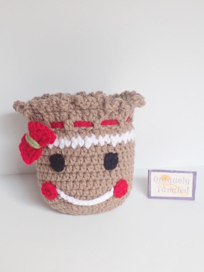 Gingerbread Pouch/drawstring- Crochet Pattern PDF