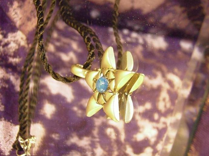 Beautiful Pewter Star necklace with polymer clay faux turquoise center