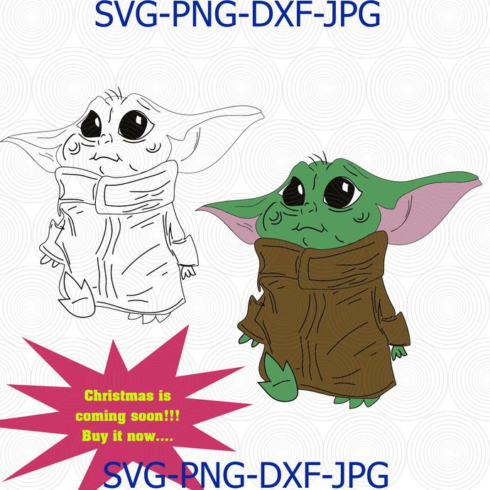 Baby Yoda Svg Mandalorian Star Wars The Child By Digital4u On Zibbet