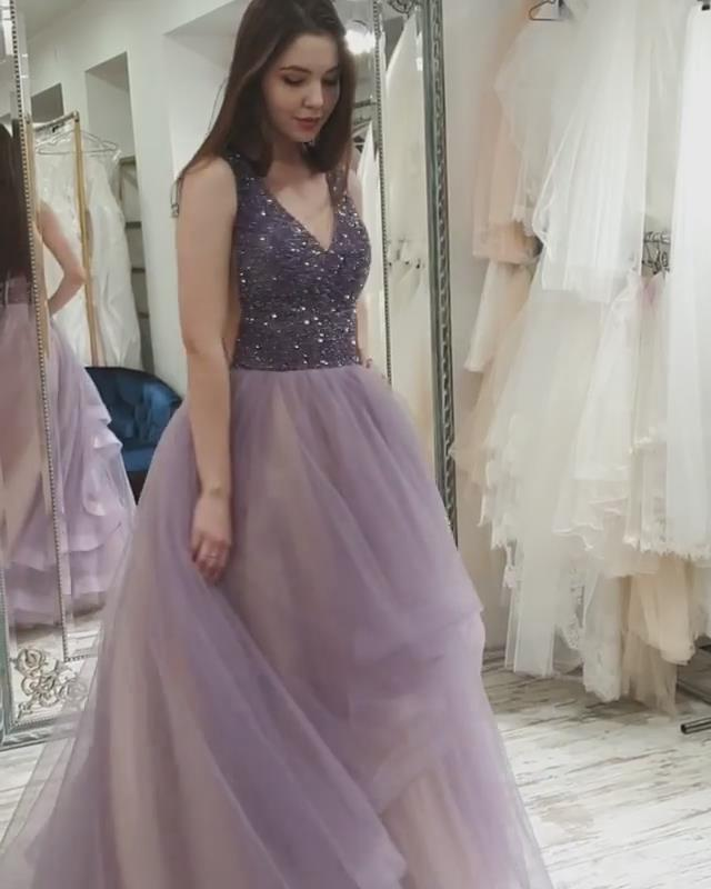 Charming Prom Dress,Tulle Prom Gown,Beading Evening Dress,A-Line Prom Gown 0102