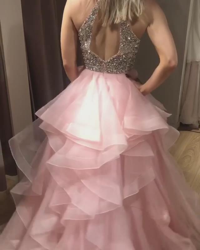 Charming Prom Dress,Tulle Prom Gown,Beading Evening Dress,A-Line Prom Gown 0103
