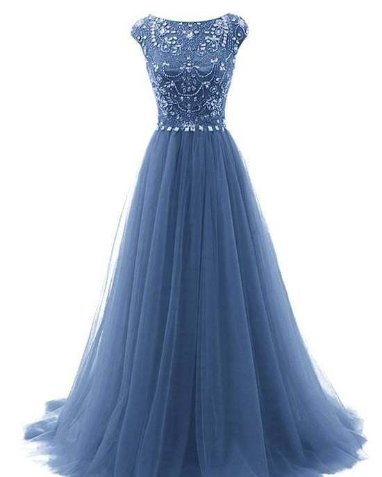 Navy Prom Dress,Tulle Prom Gown,Beading Evening Dress,A-Line Prom Gown 0104