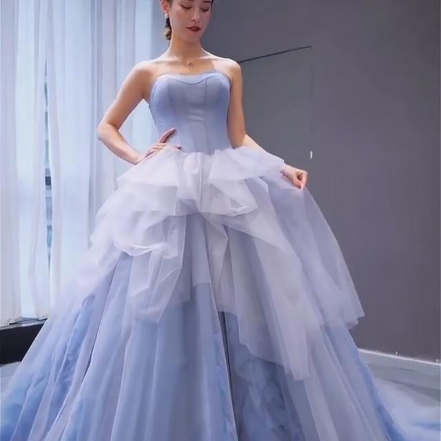 Blue Prom Dress,Ball Gown Prom Gown,Strapless Evening Dress,Tulle Prom Gown 0105
