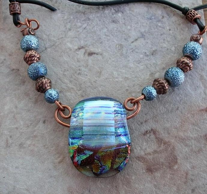 Copper Blues Dichroic Glass Necklace with Beads