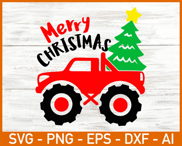 Christmas Truck Svg, Monster Truck Svg, Merry Christmas Svg Dxf Eps Png, Kids