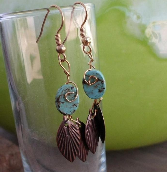 Leafy Turquoise Dangle Earrings