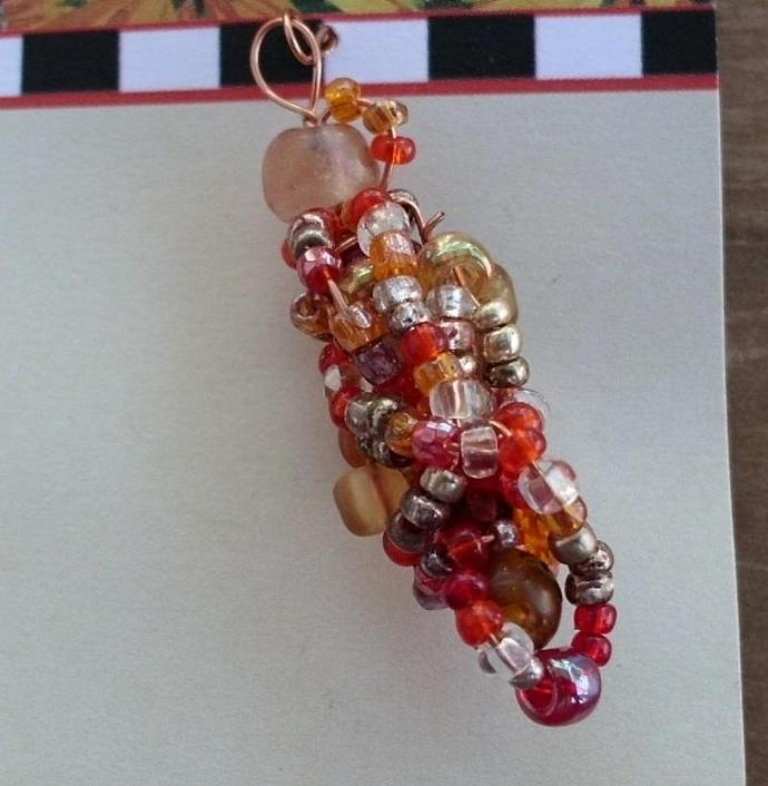 Handmade Beaded Bead in Reds and Gold