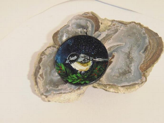 lovely delicate hand painted chickadee wooden brooch or pin