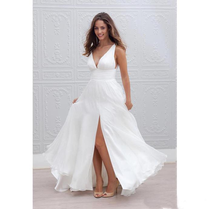 2020 New Summer Beach Boho Wedding Dresses A-Line Sexy V-Neck High Split Long