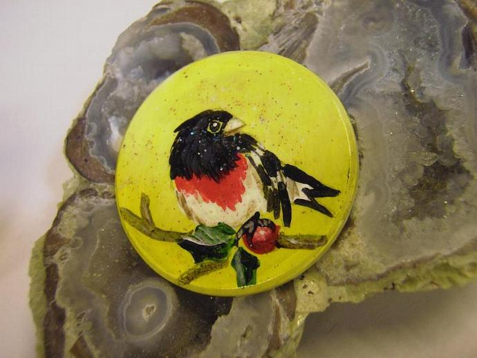 hand painted wood bird brooch or pin