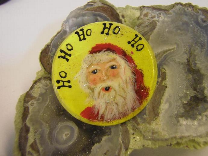cheerful santa pin hand painted on wood in acrylic
