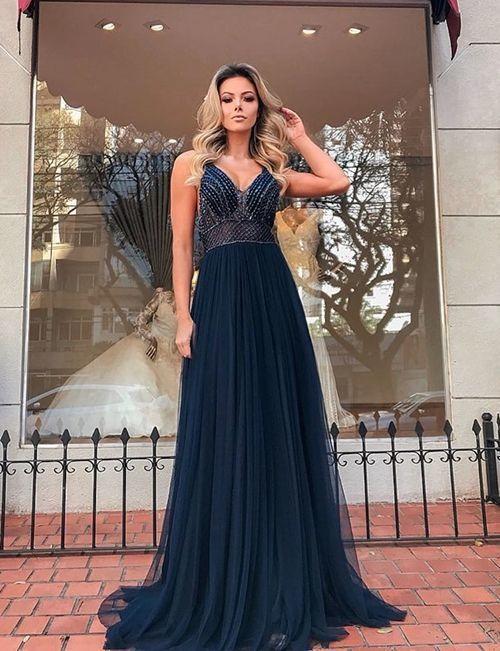 Navy Blue Beaded Prom Dresses, Long V Neck Spaghetti Straps Cheap Senior Formal