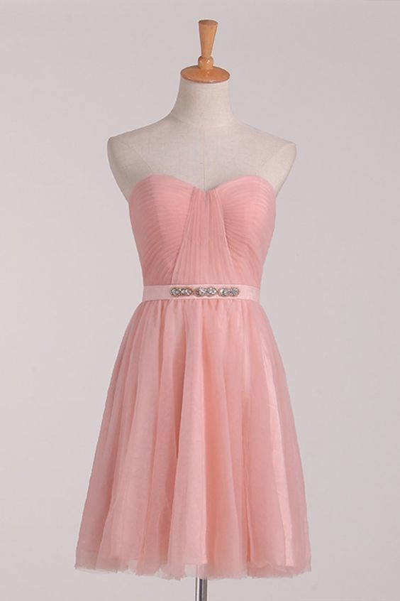 A Line Homeocdming Dresses Sweetheart With Ruffles And Sash Tulle Short