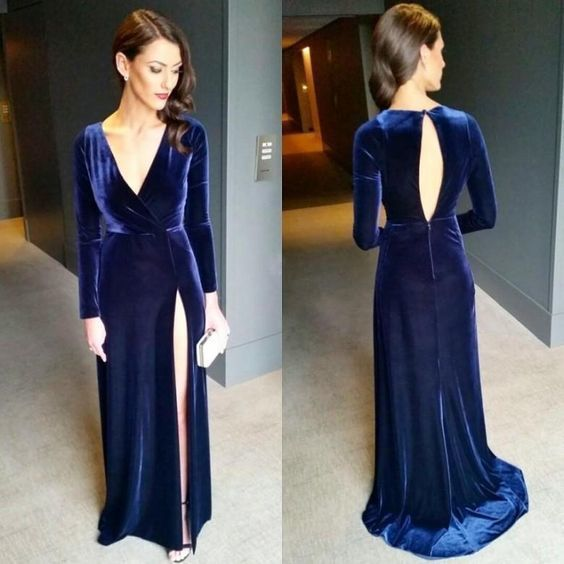 Sexy Keyhole Back Navy Blue High Split Evening Dresses Long Sleeves