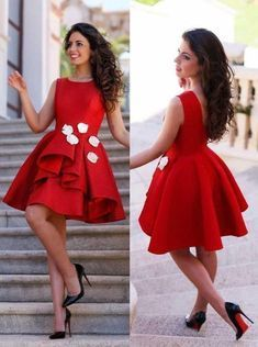 Cute Prom Dresses, Modern Jewel Sleeveless Short Red Homecoming Dress with