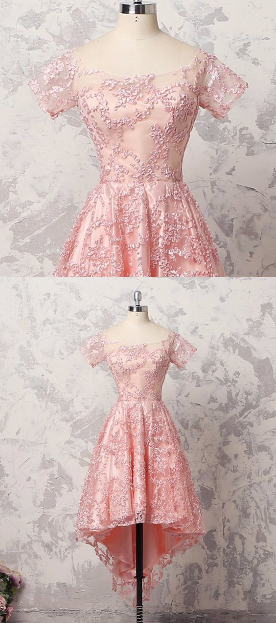 Pretty pink lace short sleeve high low A-line prom dress