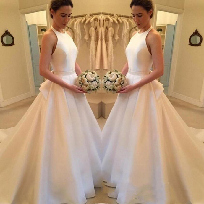 Simple Cheap Wedding Dresses 2019 New Fashion Satin A Line halter Backless