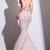 Copy of Mermaid V-Neck Criss-Cross Straps Court Train Blush Prom Dress S3496