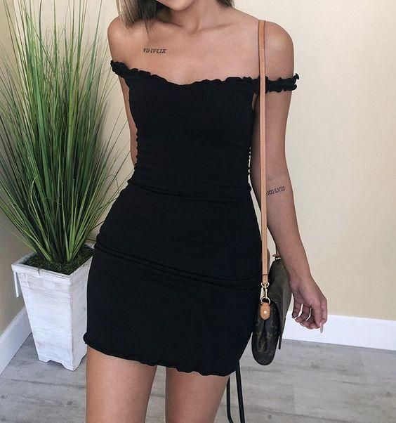 Short black sheath homecoming dress
