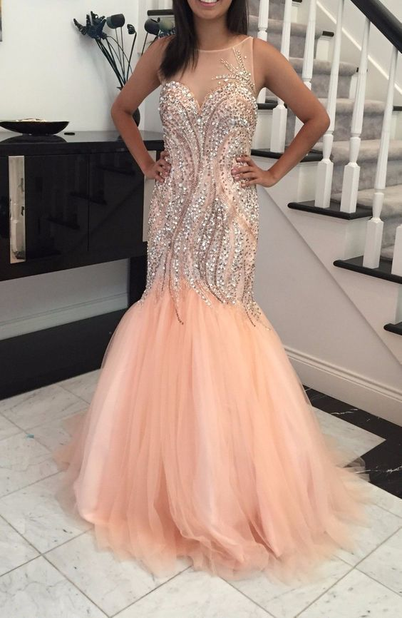 Mermaid Charming Beading Prom Dress,Long Prom Dresses