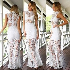 Short-Sleeved Lace Dress Sexy Dress,White Lace Prom Dress,Sexy Mermaid Lace