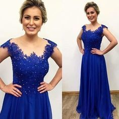A Line Royal Blue Appliques Evening Dress