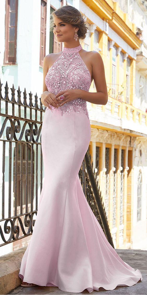 Fantastic Satin High Collar Neckline Mermaid Prom Dress With Beadings