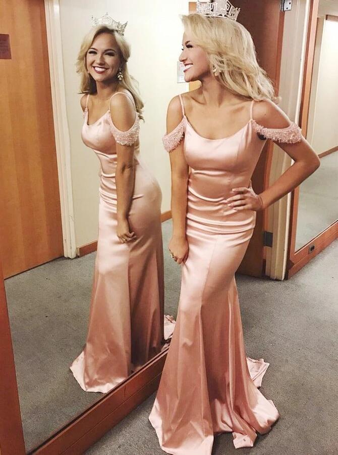Mermaid Spaghetti Straps Pink Elastic Satin Prom Dress with Beading D8752