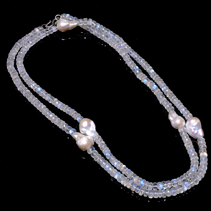 925 sterling Silver Rainbow moonstone faceted Baroque Pearl cocktail Silver