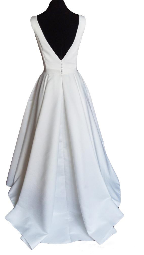 Modern Simple Satin Wedding Dress 2020 with Open Back Court Train Ruffled Scoop