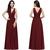 New Designer Burgundy V Neck Long Bridesmaid Dresses A Line Chiffon Cheap