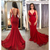 Red Spaghetti Straps Tulle Mermaid Prom Dresses 2020 Lace Applique Backless