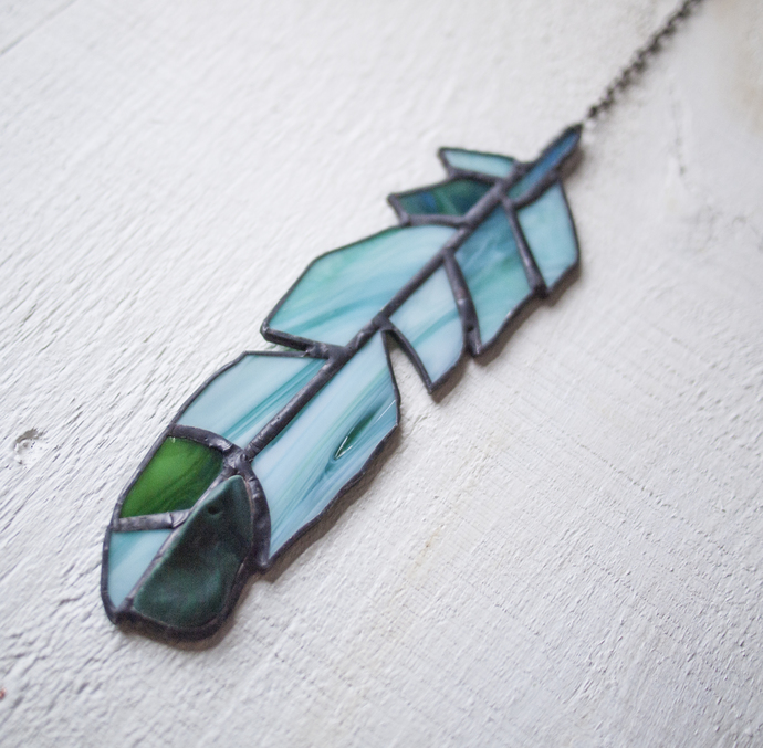 """""""Follow Your Path,"""" Stained Glass Meditation Feather with Malachite"""