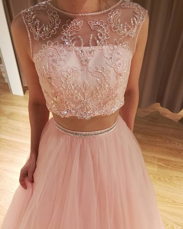 Pink Prom Dress,Tulle Prom Gown,Two Pieces Evening Dress,Beading Prom Gown 0108