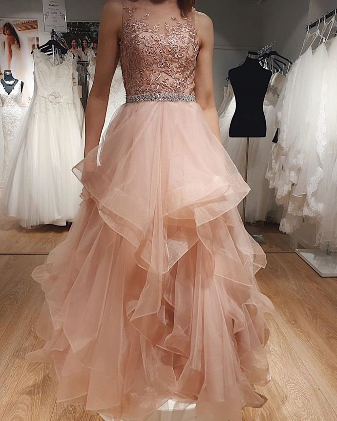 Charming Prom Dress,Tulle Prom Gown,A-Line Evening Dress,Appliques Prom Gown