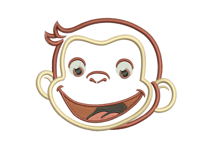 happy monkey george Applique Design for Embroidery Machines. Size 4x4.  Instant