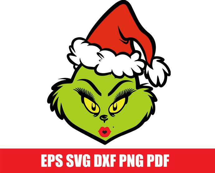 Grinch SVG, Mrs Grinch Face SVG, Christmas SVG, Grinch Smile Svg, Grinch Png,