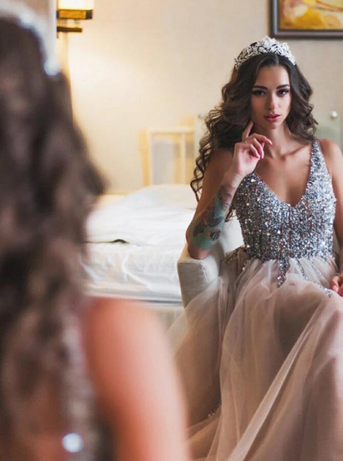 A-Line V-Neck Floor-Length Sleeveless Grey Tulle Prom Dress with Beading Cheap