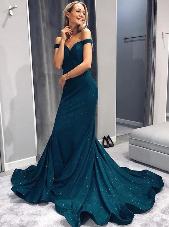 Copy of Mermaid Off-the-Shoulder Green Satin Prom Dress with Beading R3248