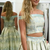 Two Piece Off-the-Shoulder Sweep Train Mint Printed Satin Prom Dress with
