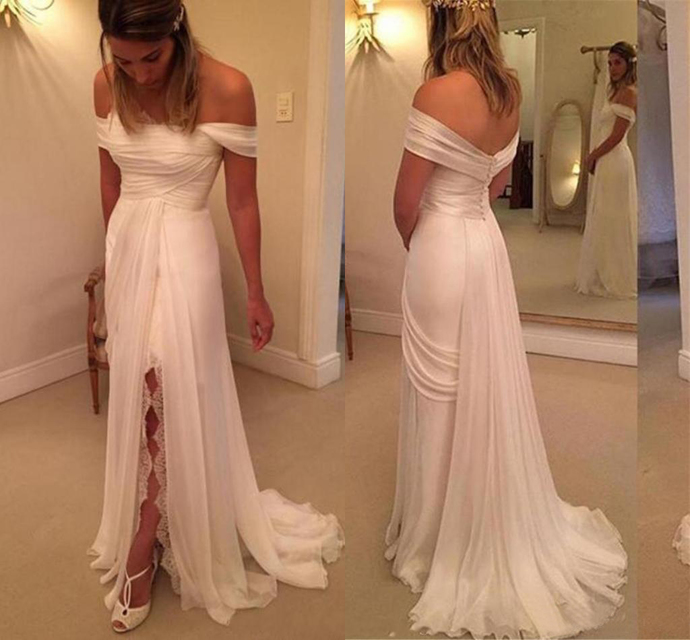Newest Off The Shoulder Chiffon Sheath Wedding Dresses Chapel Train Button Back