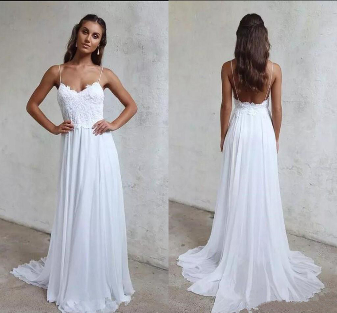 A Line Summer Beach Wedding Dresses Lace Top Backless Court Train boho garden