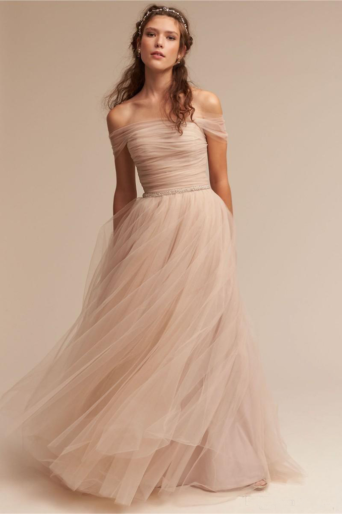 Vintage Nude 2020 Wedding Dresses Off The Shoulder Delicate Sash Bridal Gowns