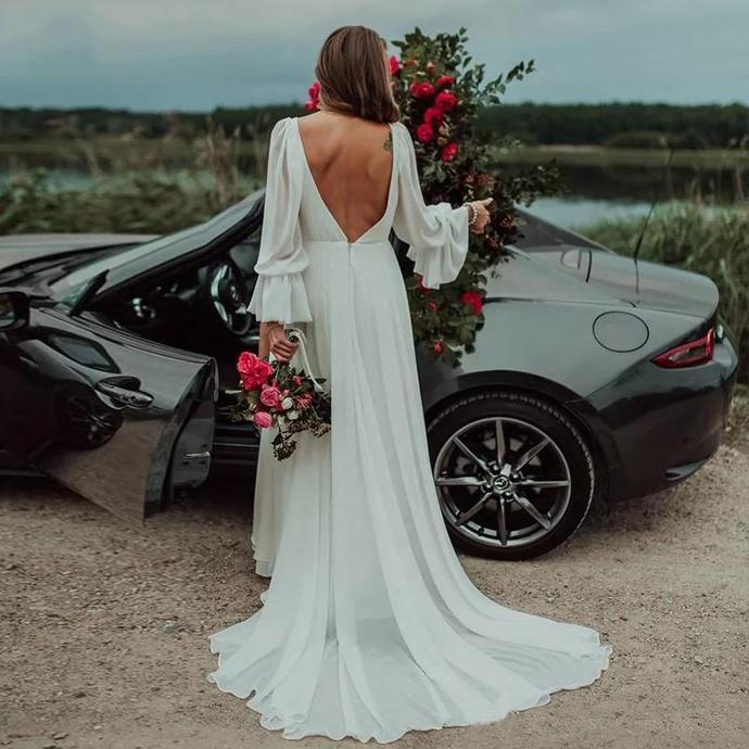 Simple Designed Summer Garden Bohemain Bridal Wedding Dresses Split A Line