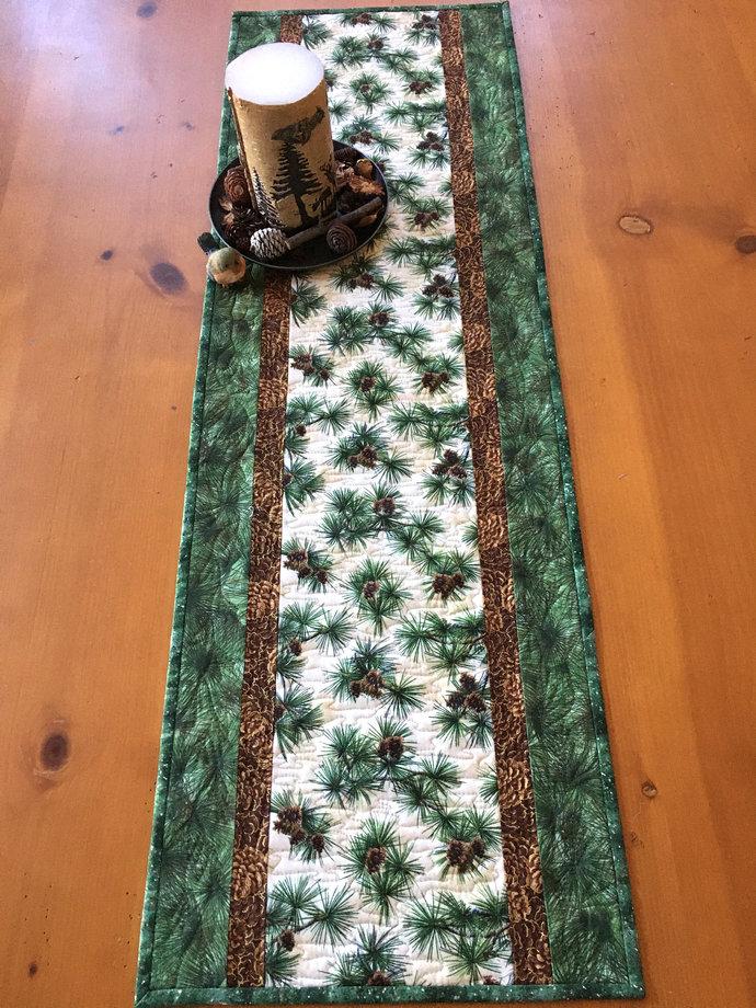Table Runner Pine Sprigs and Needles Handmade Cabin Decor